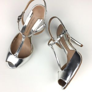 Zara Metallic Silver Open Toe Heel Retro/Disco Vib